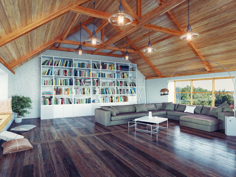 Attic Interior Design Library With Exposed Beams